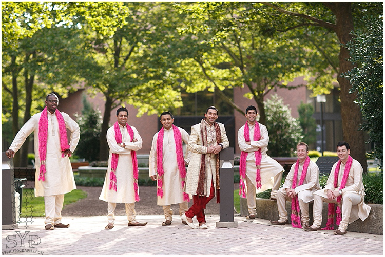 Princeton NJ Indian wedding groomsmen portrait